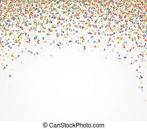 coloré, beaucoup, résumé, minuscule, pieces., fond, confetti, tomber
