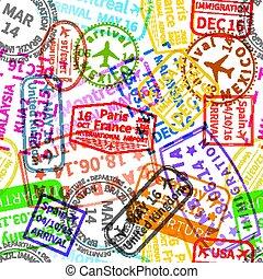coloré, beaucoup, seamless, immigration, clair, timbres, modèle