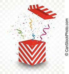 coloré, boîte rouge, confetti, ouvert