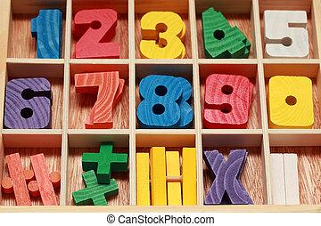 coloré, bois, âge, jeu, nombres, signes, horizontal, junior,...