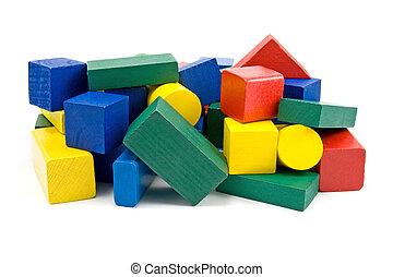 coloré, bois, briques