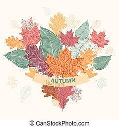 coloré, bouquet, feuilles, attaché, automne, ruban