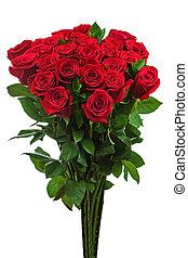 coloré, bouquet fleur, depuis, roses rouges, isolé, blanc,...
