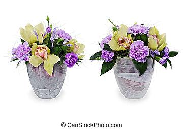 coloré, bouquet, isolé, arrangement, milieu de table, verre, fond, floral, roses, vase, blanc, orchidées