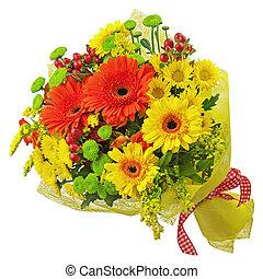 coloré, bouquet, isolé, arrière-plan., fleurs blanches, gerbera, closeup.