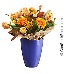 coloré, bouquet, tulipes, isolé, arrière-plan., fleurs blanches, gerbera, closeup.