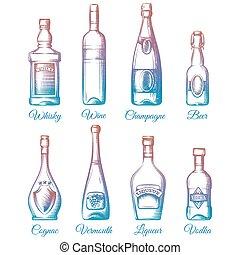 coloré, bouteilles, alcool, collection