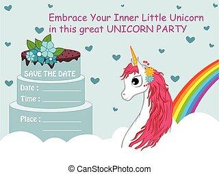 coloré, branché, fée, gabarit, illustration, licorne, fond, invitation, vecteur, conte, carte anniversaire