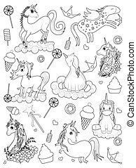 coloré, branché, fée, illustration, élément, licorne, invitation, vecteur, conte, carte anniversaire