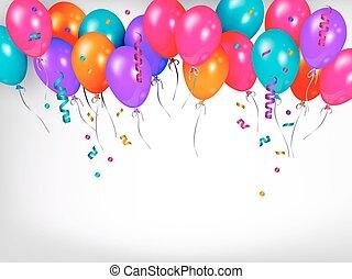 coloré, brillant, ligne, horizontal, frontière, ballons