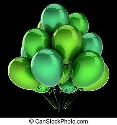 coloré, bunch., classique, hélium, décoration, vert, fête, ballons