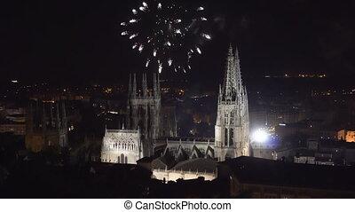 coloré, burgos, cathédrale, sur, feud'artifice, gothique, ...