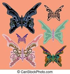 coloré, butterflies., ensemble, vecteur, illustration.