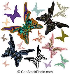 coloré, butterflies., isolé, ensemble, vecteur, illustration.