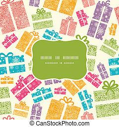coloré, cadeau, modèle, cadre, seamless, boîtes, fond, ...