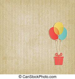coloré, cadeau, retro, fond, rayé, ballons