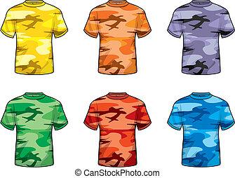 coloré, camouflage, chemises