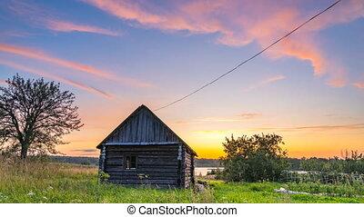 coloré, campagne, timelapse, coucher soleil