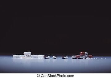 coloré, capsules, et, pilules