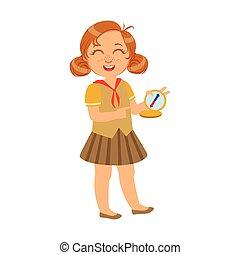 coloré, caractère, scout, compas, rire, girl, heureux