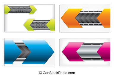 coloré, carte affaires, ensemble, technologie