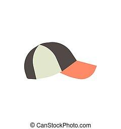 coloré, casquette, isolé, illustration, arrière-plan., vecteur, base-ball, devant, blanc, vue