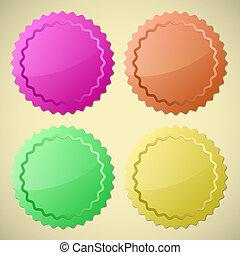 coloré, cercle, étiquettes, ensemble