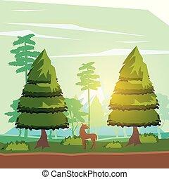 coloré, cerf, ensoleillé, à côté de, paysage, fond, route, forêt