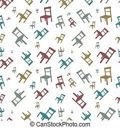 coloré, chaises, modèle, seamless, vecteur, fond, blanc