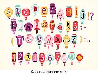coloré, chinois, lanternes, alphabet, papier, dessin animé