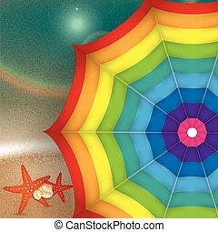 coloré, clair, fond, mer, illustration, parasol.