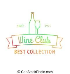coloré, club, collection, logo, mieux, vin
