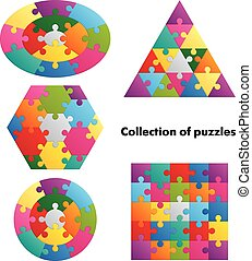 coloré, -, collection, puzzles, 5, figures