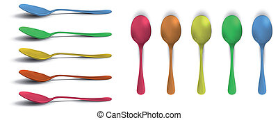 coloré, collection, spoons.