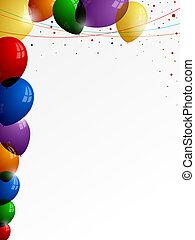 coloré, coloré, fils, fond, confetti, blanc, ballons