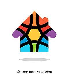 coloré, coloré, maison, goutte, conception, logo, ombre, logo., element., design.