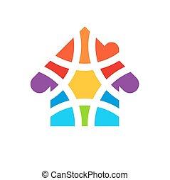 coloré, coloré, maison, house., élément, conception, logo., mosaïque