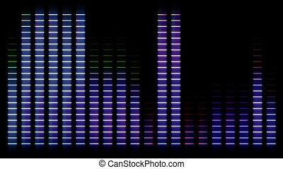 coloré, compensateur, en mouvement, barres, audio