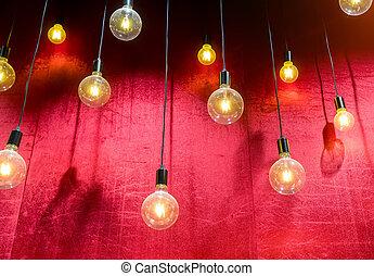 coloré, contre, sombre, clair, lampes, fond