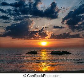 coloré, coucher soleil, sur, les, mer