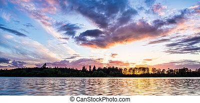 coloré, coucher soleil, travers, rivière