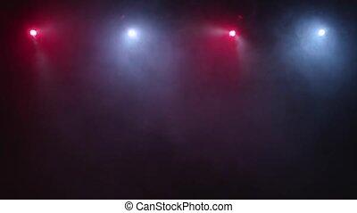 coloré, couler, fond, lumières, lentement, fumée, noir