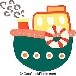 coloré, couleur, illustration, ou, vecteur, dessin animé, bateau