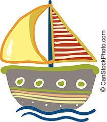 coloré, couleur, illustration, ou, vecteur, dessin, bateau