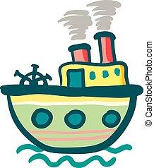 coloré, couleur, illustration, vapeur, vecteur, bateau, peinture, ou, bateau