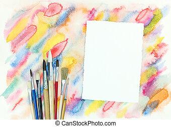 coloré, coups, sur, diagonal, aquarelle, papier, pinceaux, ...