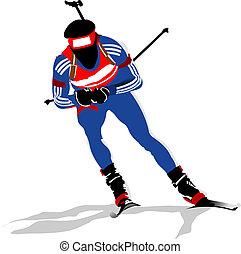 coloré, coureur, silhouettes., illustration, biathlon, vecteur