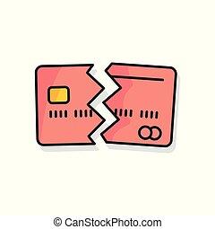 coloré, crédit, arrière-plan., annulé, blanc, carte, icône