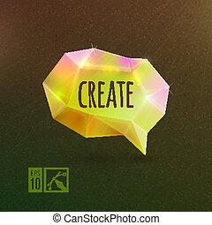 """coloré, &, """"create"""", bubble., clair, parole"""