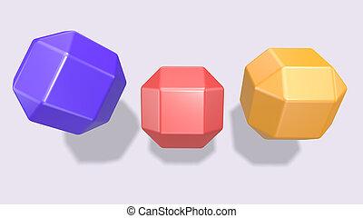 coloré, cubes, fond blanc, 3d, render